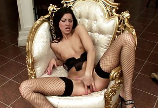 Skinny Klaudia spreads her legs to play connected with a large dildo