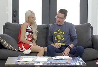 Slutty, blonde cheerleader, Emma Hix is getting stuffed with a big, hard dick and enjoying it