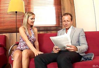 Suave fucking on the red sofa everywhere blonde wife Sunny Diamond