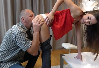 Young beauty Suzana rewards two older gents with her hot holes