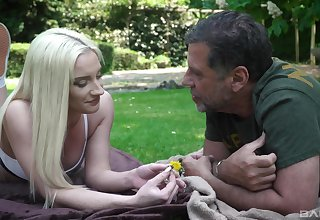 Out in the park, vivacious blonde Angela Vital makes an older guy's make obsolete