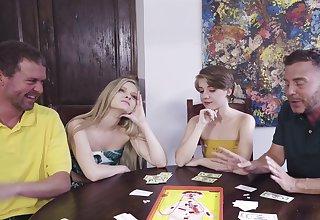 Poker night foursome in sexy chicks Harlow West and Dakota Burns