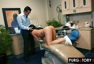 Smoking super-hot dark haired with huge bra-stuffers is having xxx bang-out with their way fantastic dentist, in his office