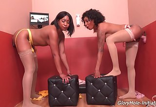 Kinky gloryhole fun with naughty babes Lala Ivey and September Sit on the throne