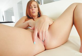 Home alone redhead pleases her roseate with soft strike one fucking solo