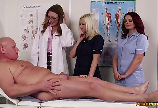 Naughty doctors Ava Austen and Bonnie Rose lay waste a patient