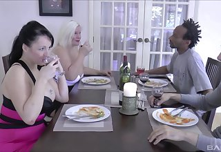 Double cum in mouth ending be advantageous to dirty MILFs Lacey Starr & Devon Breeze