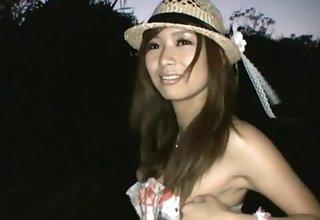 Wild outdoors fucking with snug tits Japanese hottie Akina