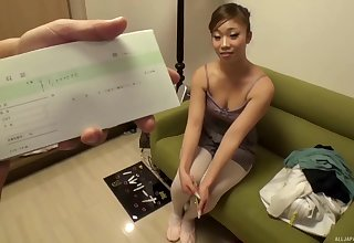 Small boobs cutie from Japan drops on their way knees to suck a dick