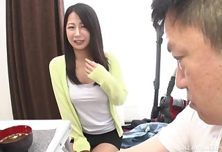 Pretty Asian explicit spreads her legs to be fucked by a lucky man