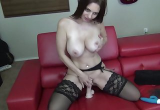 Unaccompanied babe Anna Claire Clouds playing with the brush favorite dildo