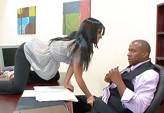 Interracial fucking on the table in the matter of busty cougar Rebeca Linares