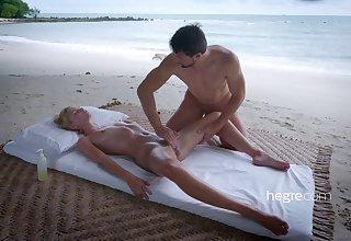 Erotic beach massage scene with wizened teen girl Ariel