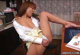 Japanese housewife Riko Katase is always happy to masturbate her wet pussy