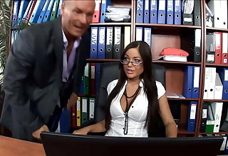 Hot secretary fucked in thigh highs and high heels