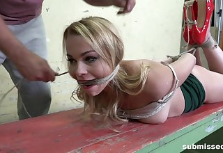 Submissive blonde, brutal with the addition of merciless BDSM sex