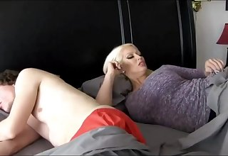 Super-Sexy ash-blonde catholic more massive breasts is plumbing her step- son-in-law because she loves his hard-on