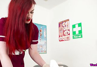 Red haired busty nurse nigh uniform Jaye Rose sucks increased by jerks off hard penis