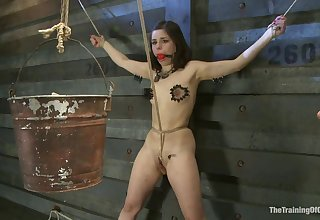 Sub girl tied in all directions crotch rope slavery and tortured with clothespins