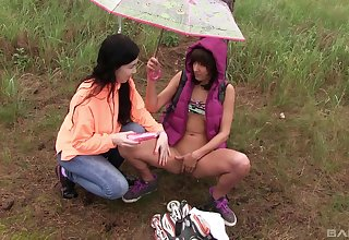 Lesbians love to make broadly in nature and shot at diversion
