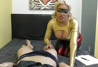 Bosomy blonde gives a blowjob and titjob with reference to hot blooded Asian stud Jason Katana