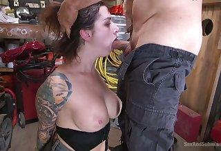 Tattooed slutty and quite buxom Ivy Lebelle gives a middling blowjob