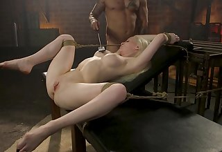 Submissive blonde deep fucked and stimulated in raw bondage