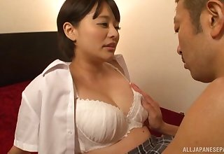 Asian Mirai Aoyama gets her hairy pussy protected close by many ways by a dude