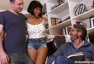 Stepson plus stepdad make the beast with two backs ebony chick Jenna Foxx plus cum on her black boobs