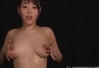 Dull Asian girl Hamasaki Mao plays with her perfect bowels