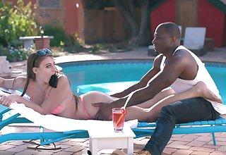 White sunbathing sweeping Gia Derza is having crazy quickie with horny black poolboy