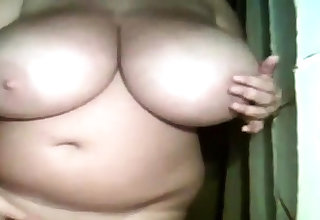 Amateur BBW showing her Cyclopean tits on cam