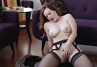 jerk off leg up redhead big boobs