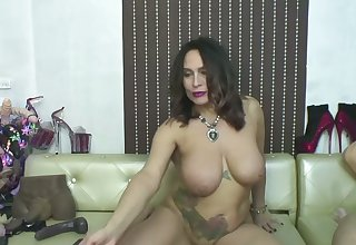 Busty granny played with a dildo tree