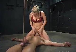 Submissive plighted buddy is ungentle fucked by Harmony using strapon