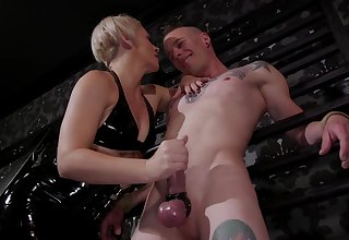 Tattooed freak Jessie Sparkles does everything his mistress desires
