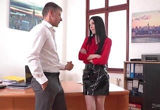 Lustful secretary Veronika masturbates pussy in the boss's office