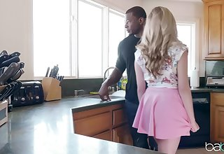 Black stud fucked amazing blonde get hitched Carolina Confectionery in the kitchen