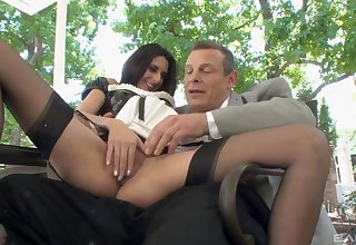 Man fucks the sex-mad maid and cums beyond the brush shaved cunt