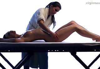 Of a female lesbian masseuse enjoys touching beautiful young body of 18 yo unused Vika