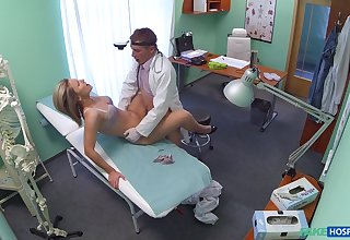 Samantha, a cute blonde, gets a highly agile exam from her physician