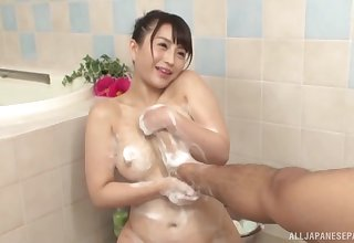 Soapy bathroom Japanese shag for the busty hot wife