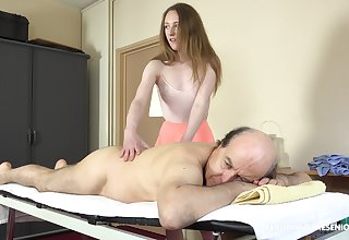 Petite girl offers superannuated panhandler proper massage and good fucking
