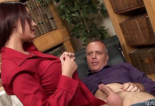Brunette wife Emma Depths all over glasses fucked off out of one's mind a sex-mad neighbor