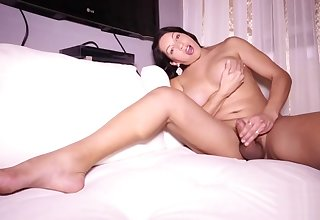 Busty latina tgirl strokes her cock