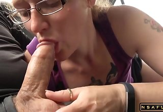 Redhead mature enjoys greedy cock sucking
