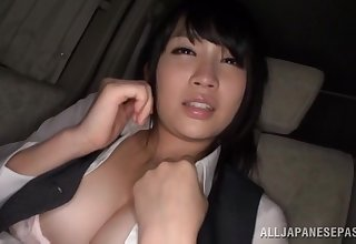 Satomi Nomiya blindfolded and pleasured by a stranger relative to the car