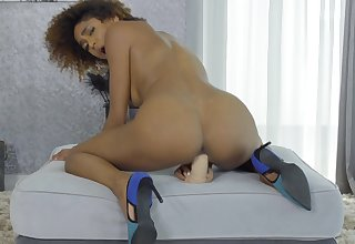 Aroused outrageous with curly hair, adverse toy porn