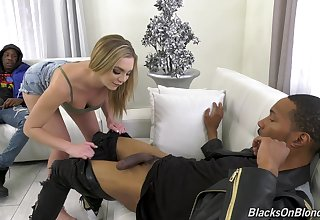 Blonde whore Tiffany Watson enjoys having sex back a handful of black dicks