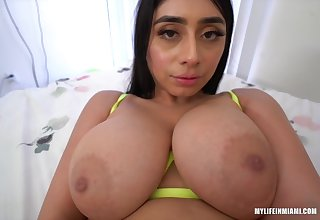 Busty brunette, Violet Myers is sucking and riding will not hear of best friends dick, circa day long